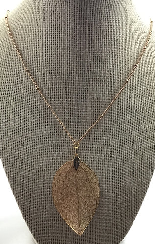 Gold-Plated Leaf Pendant Necklace