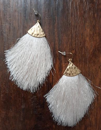 Fancy Fringe Earrings - Ivory
