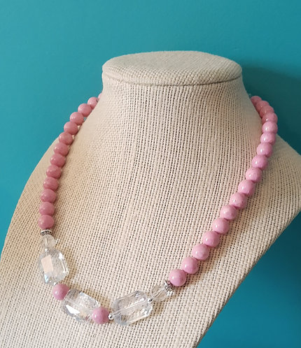 Pink Riverstone & Crystal Necklace
