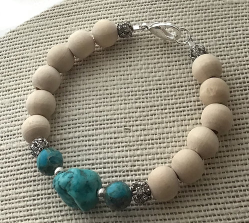 Natural Wood Bead Bracelet w/Turquoise Howlite & Rhinestones