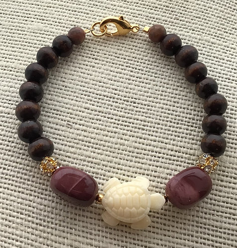 Wood Bead Bracelet w/Turtle & Yellow Jasper (Burgundy)