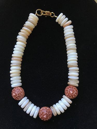 Amber Heart & White Shell Bracelet