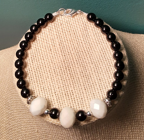 Black Jade & White Faceted Glass Bracelet