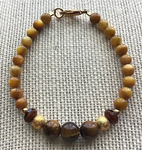 Tiger Eye & Amber Shell Bracelet