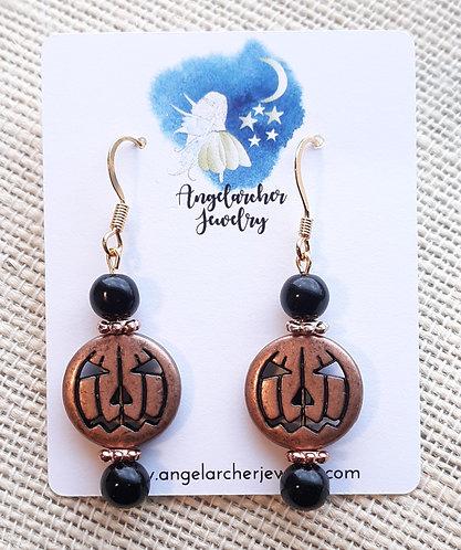 Copper-colored Metal Pumpkin Earrings