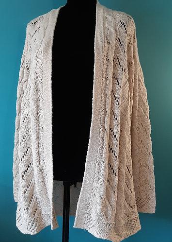 Oatmeal Pointelle Cardigan Sweater