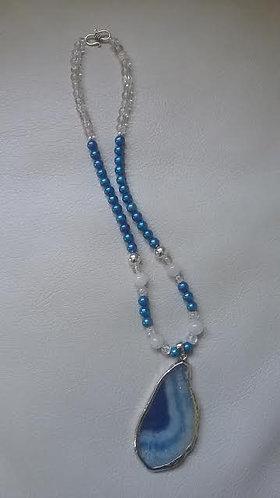 Blue Agate Pendant w/Royal Blue & Crackle Bead Necklace