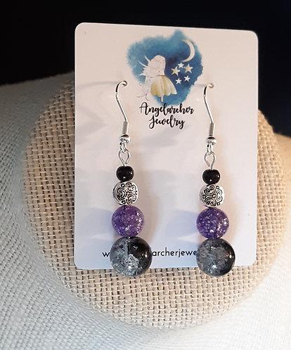 Black & Purple Crystal Crackle Earrings