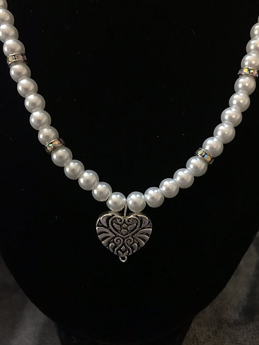 White Glass Pearl & Rhinestone Heart Necklace Set