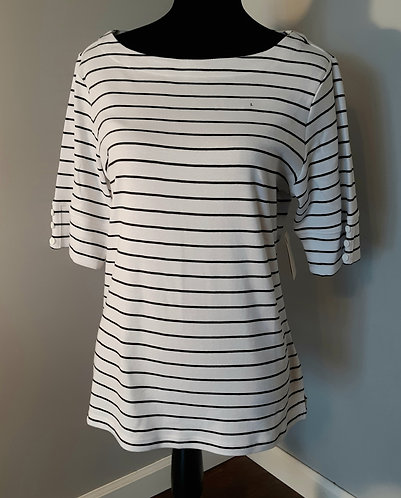 Striped Boatneck Top - White & Black