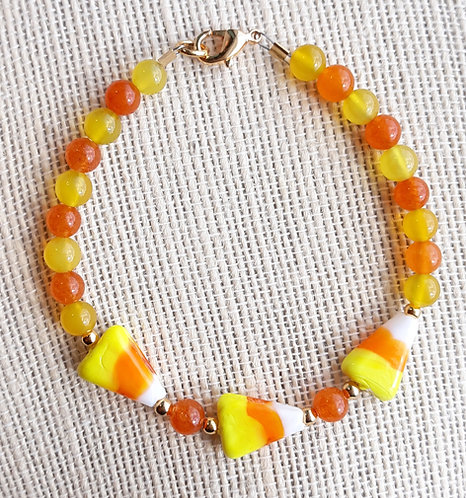 Candy Corn Bracelet w/Orange Quartzite & Yellow Agate