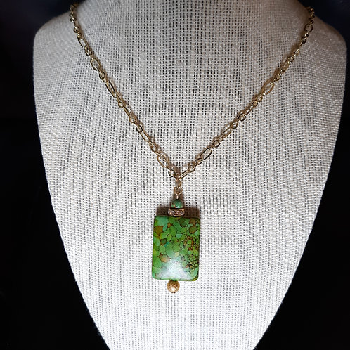 Green Turquoise Chain Necklace