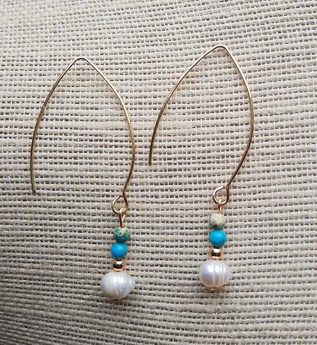 Freshwater Pearl & Turquoise Imperial Jasper Earrings