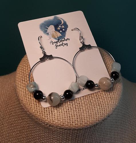 Amazonite Nugget & Black Jasper Hoop Earrings