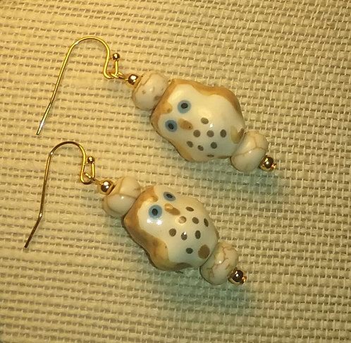 Ceramic Tan Owl Earrings
