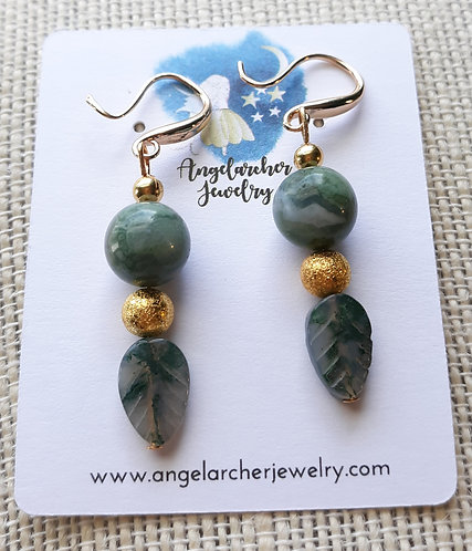Fancy Jasper Leaf Earrings