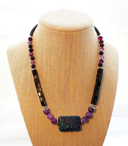 Purple Quartz Peacock Necklace w/Black Cubes