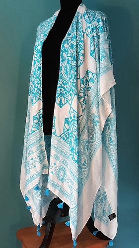 Turquoise Fringe Kimono