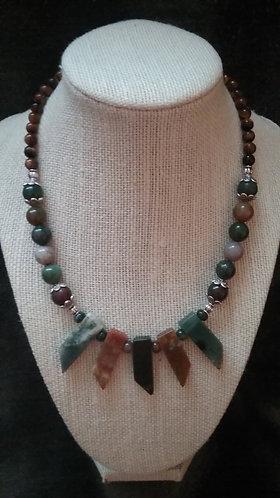 Agate Stone Fan Necklace & Earrings Set
