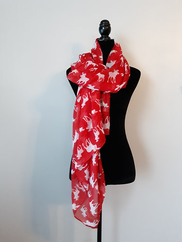Holiday Scarf - Red & White Moose