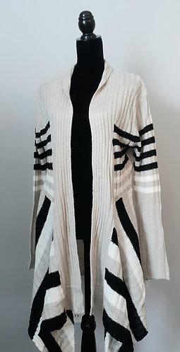 Beige & Black Ribbed/Striped Cardigan 1X