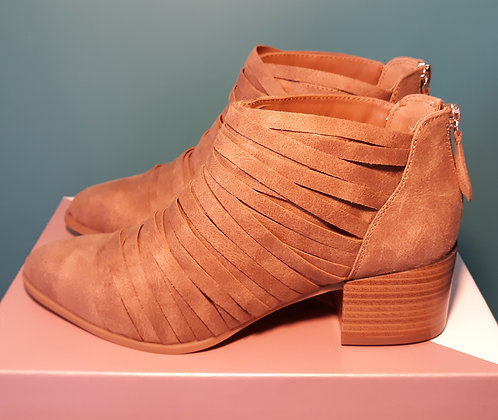 Fergalicious Tan Strappy Booties