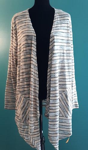 Ruby Rd. Gray & Beige Striped Cardigan