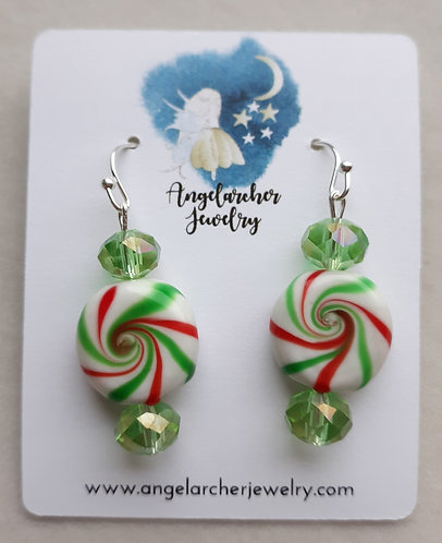 Peppermint Candy Earrings w/Light Green Crystals