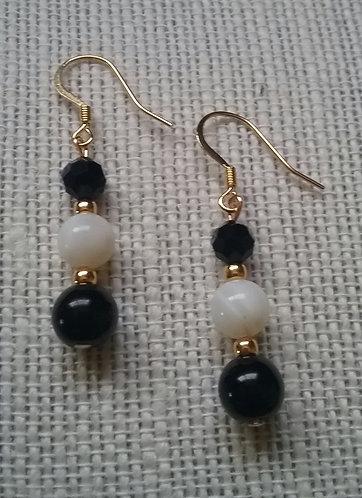 Black Jasper & White Shell Earrings
