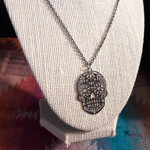 Metal Skull Chain Necklace & Earrings Set