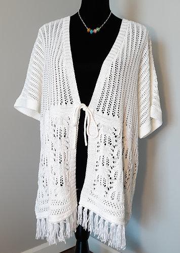 Crochet Tie-Front Fringe Cardigan - White