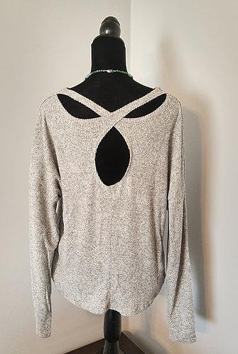 Gray Ribbed Criss-Cross Back Sweater
