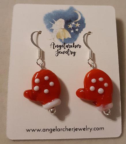 Red Mitten Earrings w/Silver-Plated Hooks