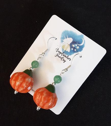 Ceramic Pumpkin Earrings w/Green Aventurine