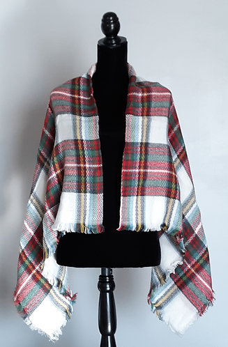 Red, Green & White Plaid Blanket Scarf/Wrap