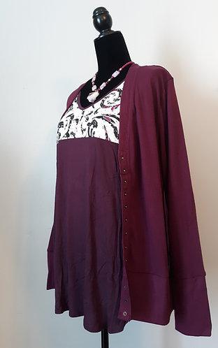 Snap Cardigan Sweater - Plum