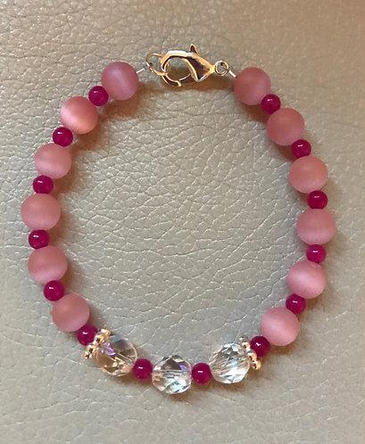 Pink Cats Eye & Crystal Bracelet
