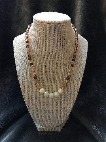 White Dyed Quartzite & Amber Necklace