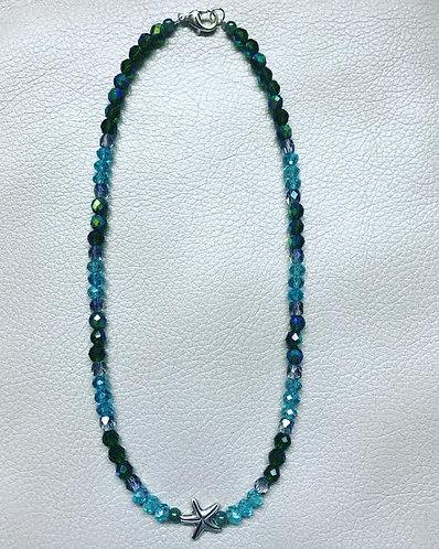 Aqua and Green Starfish Choker Necklace