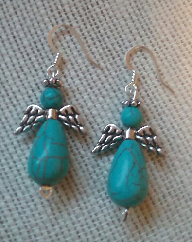 Turquoise Howlite Angel Earrings