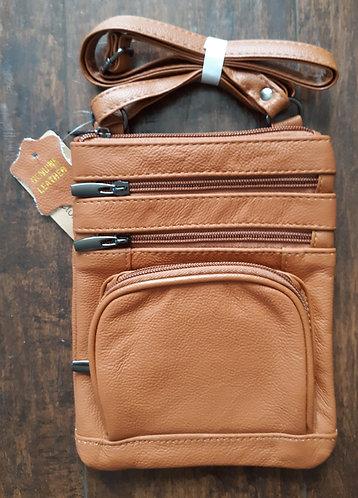 Soft Leather Crossbody Bag - Lt Brown