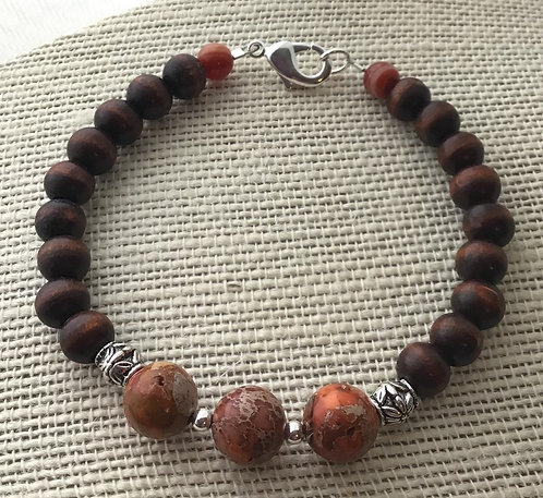 Wood Bead Bracelet w/Orange Imperial Jasper