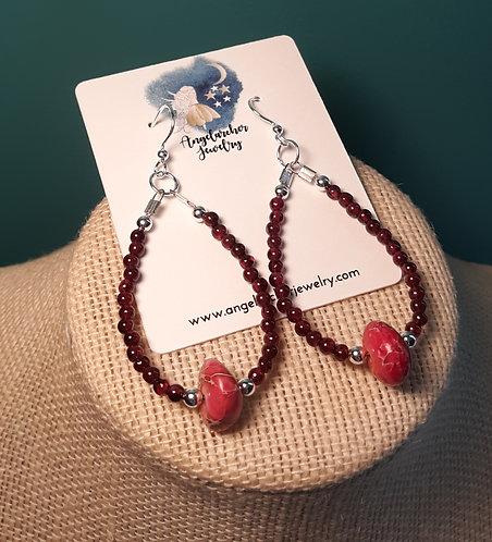 Teardrop Loop Earrings - Hot Pink Imperial Jasper