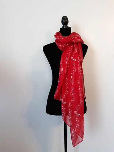 Holiday Scarf – Red Music Notes