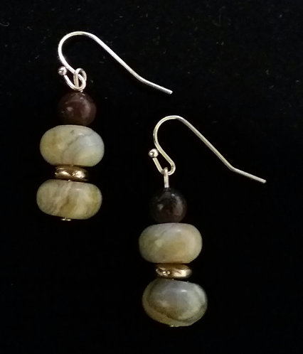 Crazy Agate & Red Tiger Eye Earrings