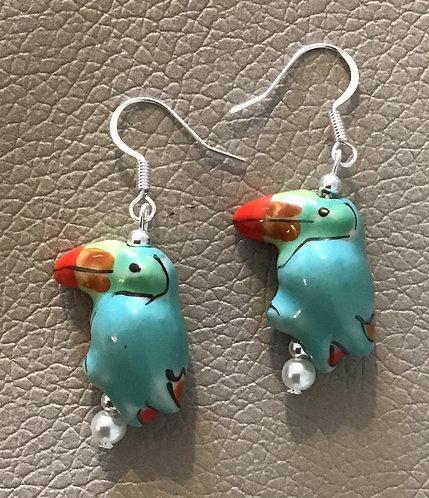 Colorful Toucan Earrings - Light Blue
