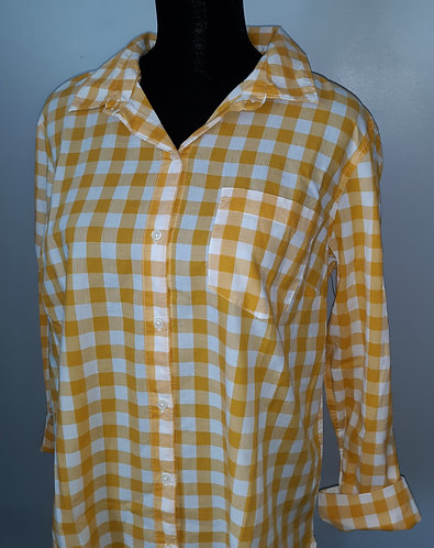 Yellow & White Gingham Plaid Button Top