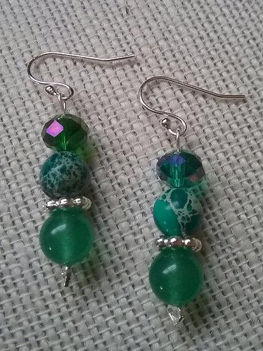 Green Aventurine & Imperial Jasper Earrings