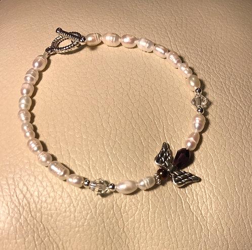 Angel Wing Bracelet - February Birthstone