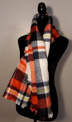 Red/Navy/White Plaid Blanket Wrap/Scarf